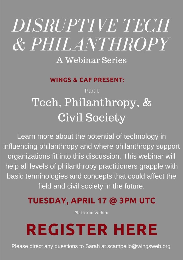 Disruptive Tech and Philanthropy Webinar Series